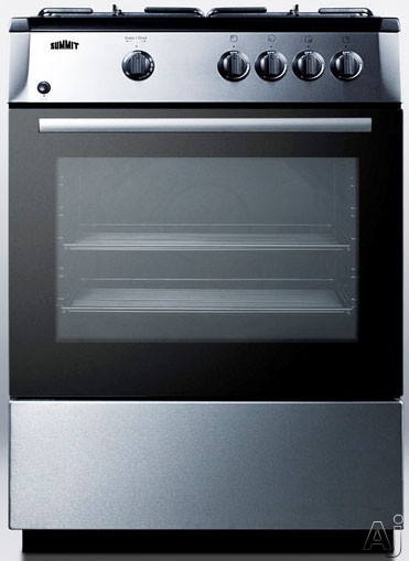 Summit PRO24G 24 Inch Freestanding Gas Range with 2.5 cu. ft. Capacity, 4 Sealed Sabaf Burners, Continuous Grates, Waist-High Broiler, Slide-Out Oven Racks, Storage Compartment and Manual Clean