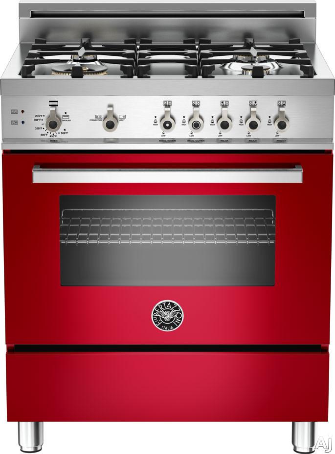 "Bertazzoni Professional Series PRO304GASRO 30"" Pro-Style Gas Range with 4 Sealed Brass Burners, 3.6, U.S. & Canada PRO304GASRO"
