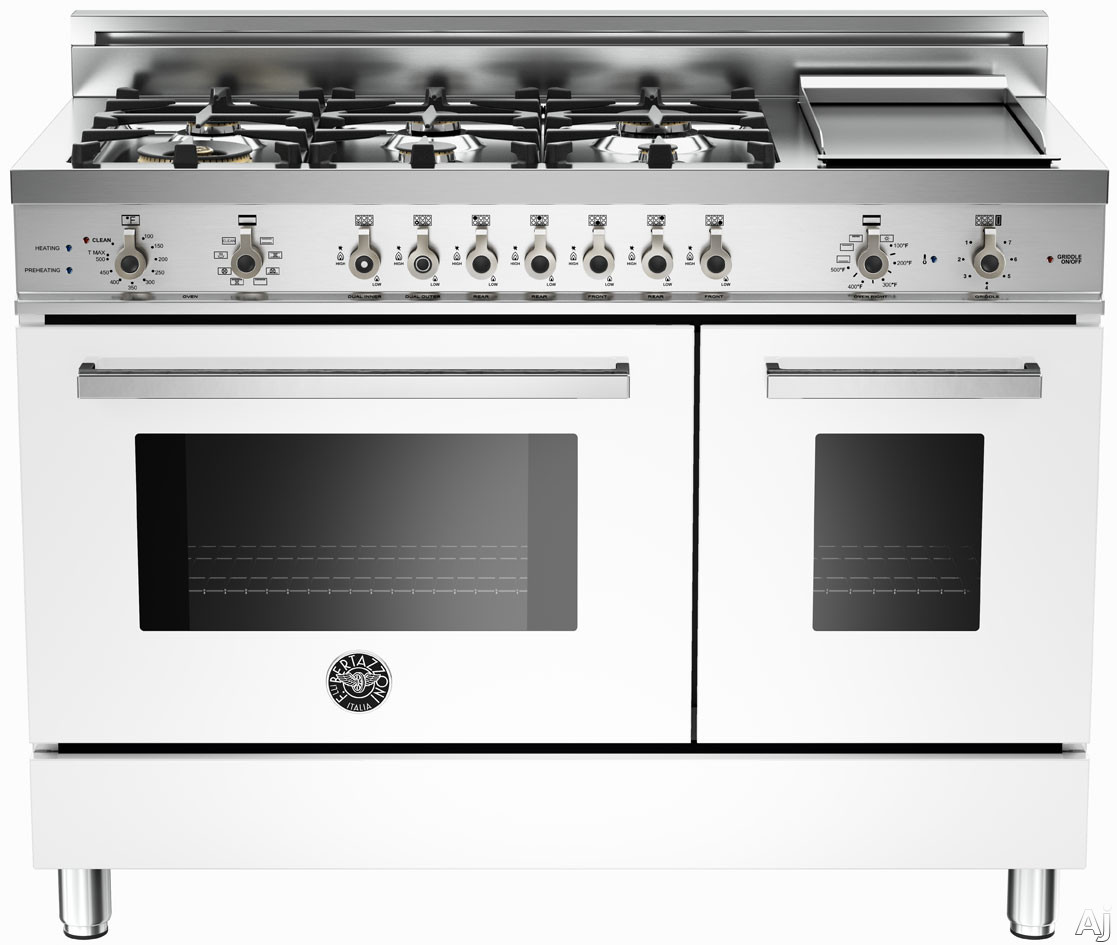 Bertazzoni Professional Series PRO486GDFSBI 48 Inch Pro-Style Dual Fuel Range with 6 Sealed Brass Burners, 3.4 cu. ft. Main Convection Oven, Self-Clean, Electric Griddle and Telescopic Glide Shelf: Wh