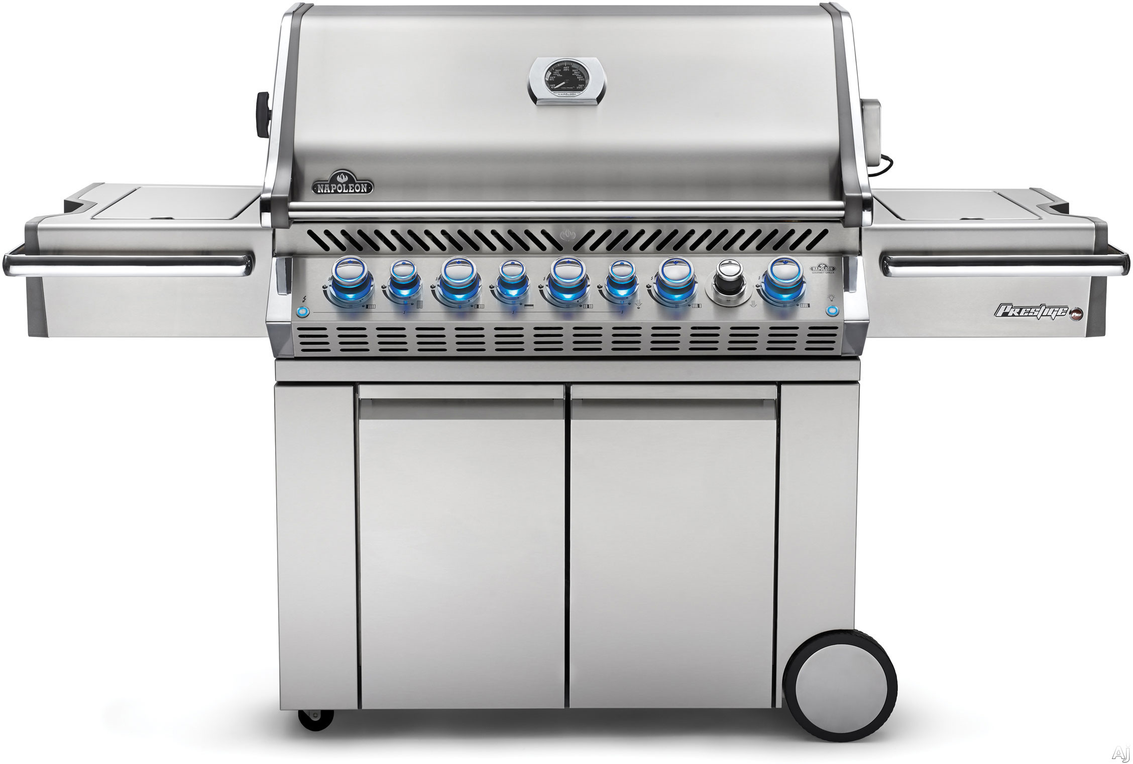 """Napoleon Prestige PRO Series PRO665RSIBPSS2 77 Inch Freestanding Gas Grill with 1,140 sq. in. Cooking Area, 99,000 Total BTU, 8 Burners, Infrared Sizzle Zoneâ""""¢ Side Burner, Rear Infrared Rotisser"""