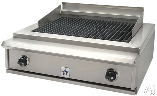 BlueStar Charbroiler Series PRZIDCB30V2 30 Inch Indoor Charbroiler with Two 15,000 BTU Burners, Adjustable Cast-Iron Grates and Commercial Stainless Steel Construction PRZIDCB30V2