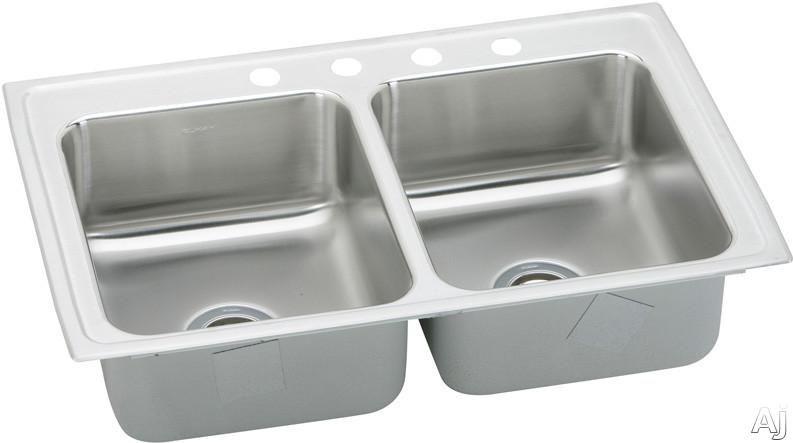 Elkay Pacemaker Collection PSR43223 43 Inch Top Mount Double Bowl Stainless Steel Sink with 20-Gauge, 7-1/4 Inch Bowl Depth, 3-1/2 Inch Drain, Coved Corners and U-Channel Type Mounting System: 3 Holes