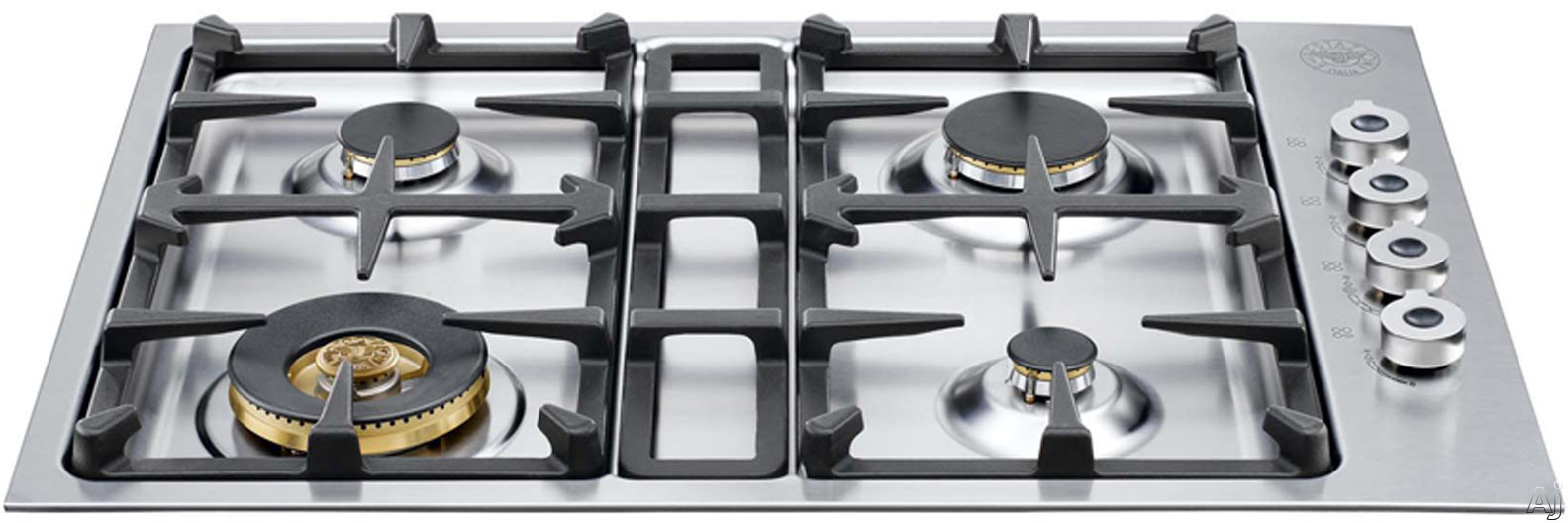 Bertazzoni Professional Series QB30400XLP 30 Inch Gas Cooktop with 4 Sealed Burners, 18,000 BTU Brass Power Burner, Continuous Grates, Electronic Ignition and Low Profile Borders: Liquid Propane