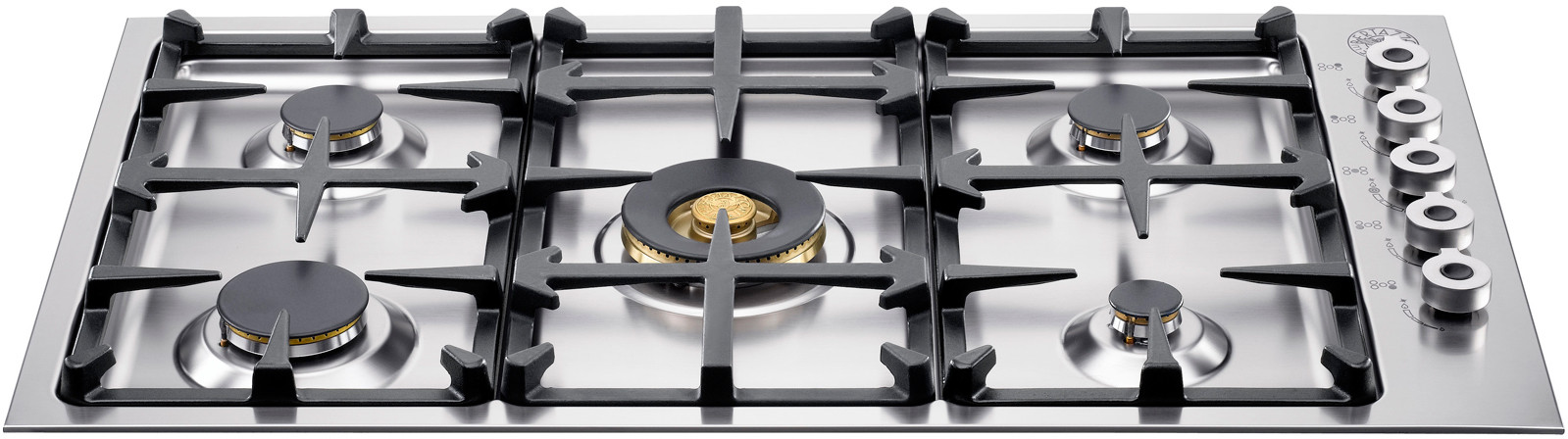Bertazzoni Professional Series QB36500X 36 Inch Gas Cooktop with 5 Sealed Burners, 18,000 BTU Brass Power Burner, Continuous Grates, Electronic Ignition and Low Profile Borders: Natural Gas