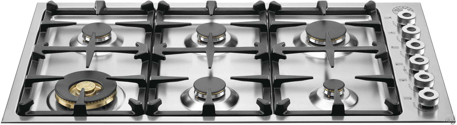 Bertazzoni Professional Series QB36600 36 Inch Gas Cooktop with 6 Sealed Burners, 18,000 BTU Brass Power Burner, Continuous Grates, Electronic Ignition and Low Profile Borders