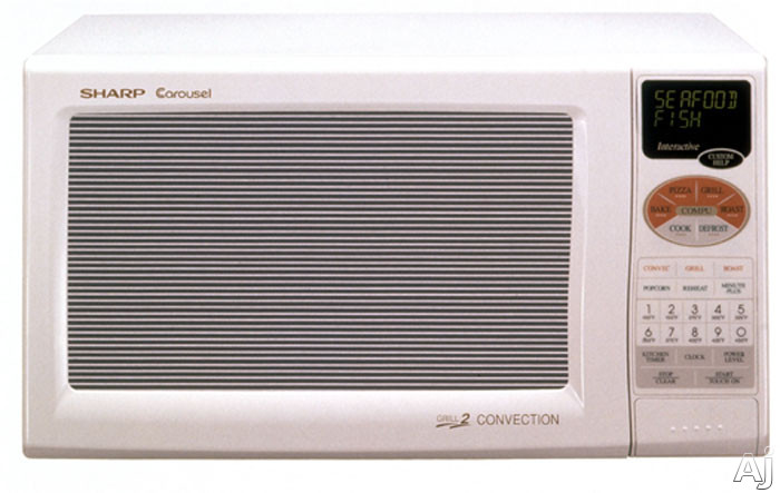 Sharp R820BW 0.9 Cu. Ft. Countertop Microwave Oven with 900 Cooking Watts & Grill 2 Convection, U.S. & Canada R820BW