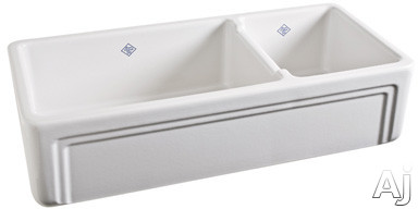 """Rohl Shaws Original RC4018BS 39"""" Apron Front Double Bowl Fireclay Kitchen Sink with 8-1 / 2"""" Bowl, U.S. & Canada RC4018BS"""