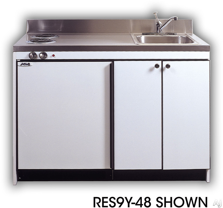 Acme Efficiency Kitchenettes RES9Y42 Compact Kitchen with Sink Compact Refrigerator and Optional Electric Burners 42 Inch Width
