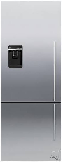 Fisher & Paykel Active Smart RF135BDLUX4 25 Inch Counter Depth Bottom-Freezer Refrigerator with 13.5 cu. ft. Capacity, 2 Adjustable Glass Shelves, ActiveSmart Technology, Humidity Control System, Sabbath Mode, External Water Dispenser and Ice Maker: Left