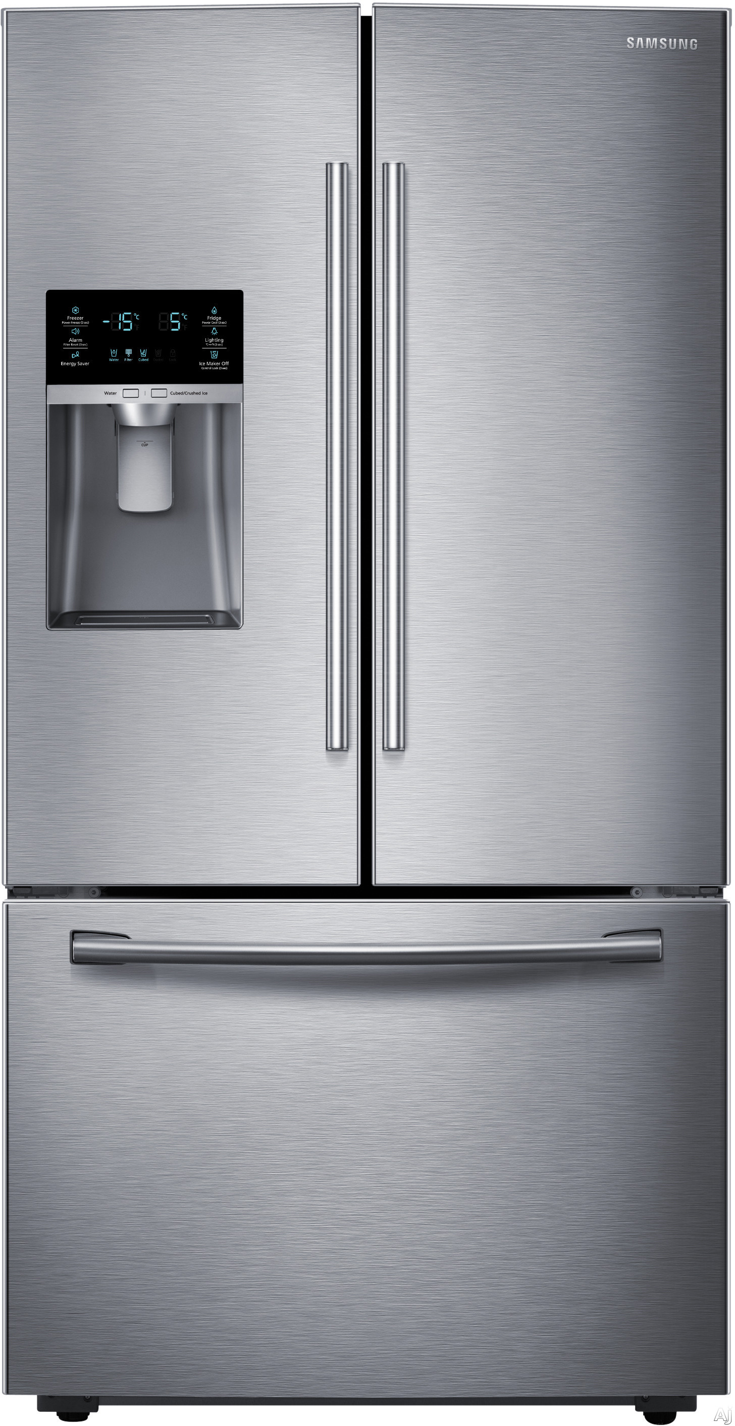 Samsung RF28HFEDB 36 Inch French Door Refrigerator with CoolSelect Pantry, Twin Cooling Plus, Ice Master, 28 cu. ft. Capacity, 4 Adjustable Glass Spill-Proof Shelves, LED Lighting, External Water/Ice Dispenser and Energy Star Qualified