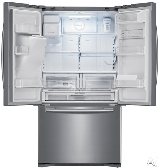 Samsung RFG237AARS 23 cu. ft. Counter-Depth French Door Refrigerator with Twin Cooling System, Power Freeze, Cool Select Pantry, Energy Star Rated, External Water and Ice Dispenser and External Digital Display: Real Stainless