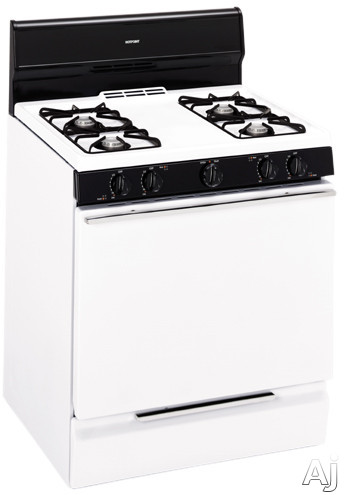 """Electronic Ignition - Hotpoint RGB524PEH 30"""" Freestanding Gas Range With 4 Open Burners Electronic Pilot Ignition 4.8 Cu Ft Manual Clean Oven And Slide-Out Broiler Drawer"""