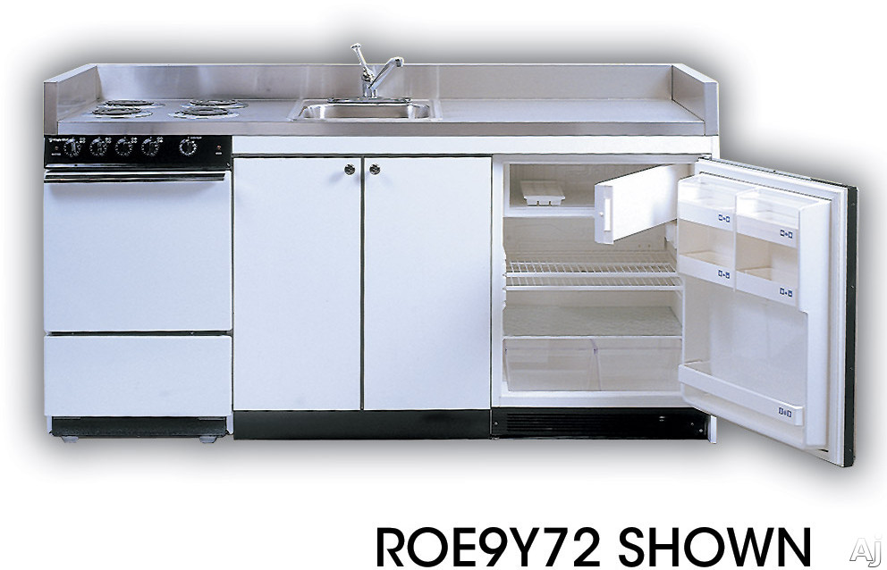Acme Full Feature Kitchenettes ROE9Y72 Compact Kitchen with Stainless Steel Countertop 4 Electric Burners Oven Sink and Compact Refrigerator 72 Width