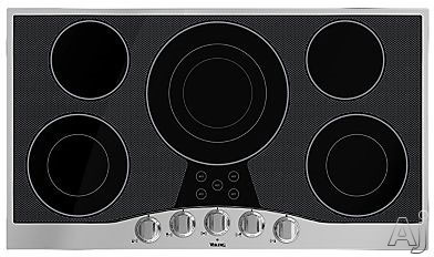 "Viking RVEC3365BSB 36"" Electric Cooktop with 5 QuickCook Surface Elements, Hot Surface Indicator Lights, Glass Ceramic Surface and Metal Die-Cast Knobs"