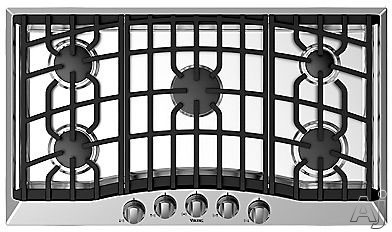 Viking RVGC33615BS 36 Inch Gas Cooktop with 5 Sealed Burners, Aluminum Flame Ports, Cast-Iron Continuous Grates, Metal Die-Cast Knobs and Automatic Electric Spark Ignition