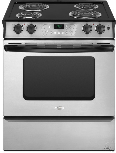 "Whirlpool RY160LXT 30"" Slide-in Electric Range with 4 Coil Burners, Porcelain Cooktop Surface, U.S. & Canada RY160LXT"