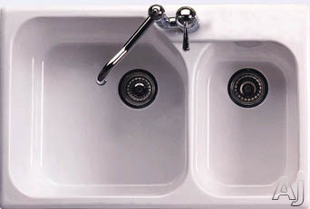 """Rohl Allia 631700 33"""" Fireclay Double Bowl Sink with 10"""" / 8"""" Extra Deep Bowls, Single-Hole Mount, U.S. & Canada 631700"""