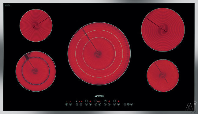 Smeg S2951 36 Inch Smoothtop Electric Cooktop with 5 High-Light Radiant Elements Including a Triple Element, 9 Power Levels, Automatic Safety Cut-Out, Individual Timers and Soft Touch Controls