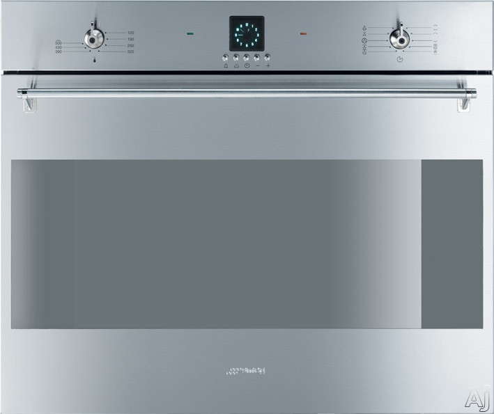 Smeg Classic Design SC709XU 27 Inch Single Electric Wall Oven with 3.0 cu. ft. Multifunction European Convection Oven, Manual Clean, 10 Cooking Modes, Rotisserie Kit and LED Electronic Clock/Timer SC709XU