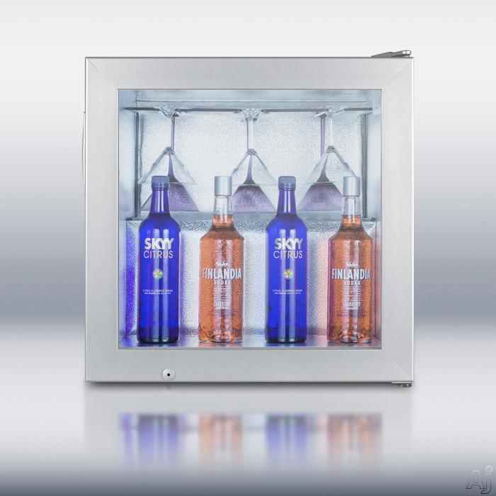 Image of Summit SCFU386VK 24 Inch Compact Vodka Freezer with 3.0 cu. ft. Capacity, Self-Closing Door, Factory-Installed Lock, Glass Door and LED Lighting