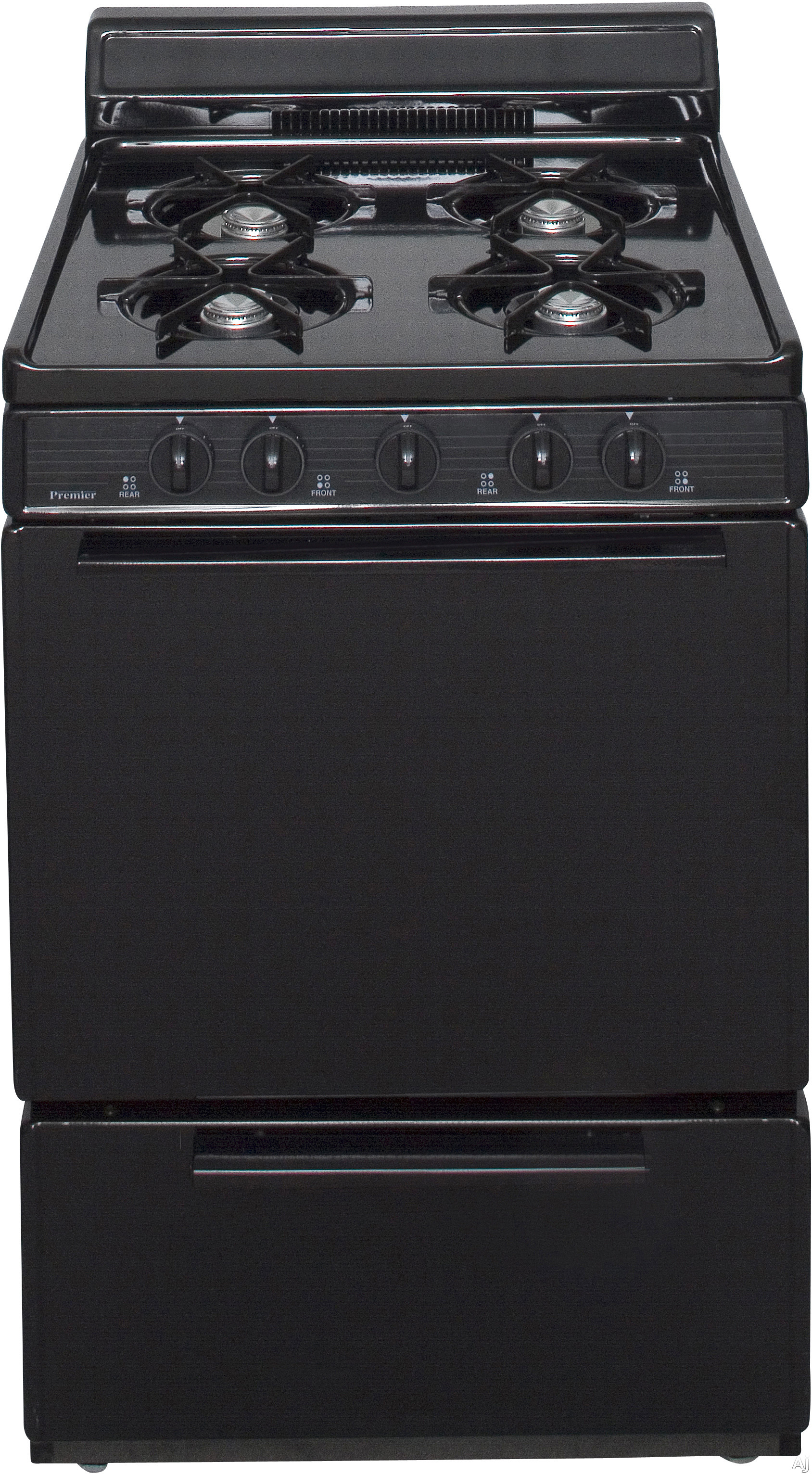 Premier SCK100B 24 Inch Freestanding Gas Range with 4 Open Burners, 3 cu. ft. Manual Clean Oven, Electronic Ignition, Solid Oven Door and 4 Inch Porcelain Backguard: Black on Black