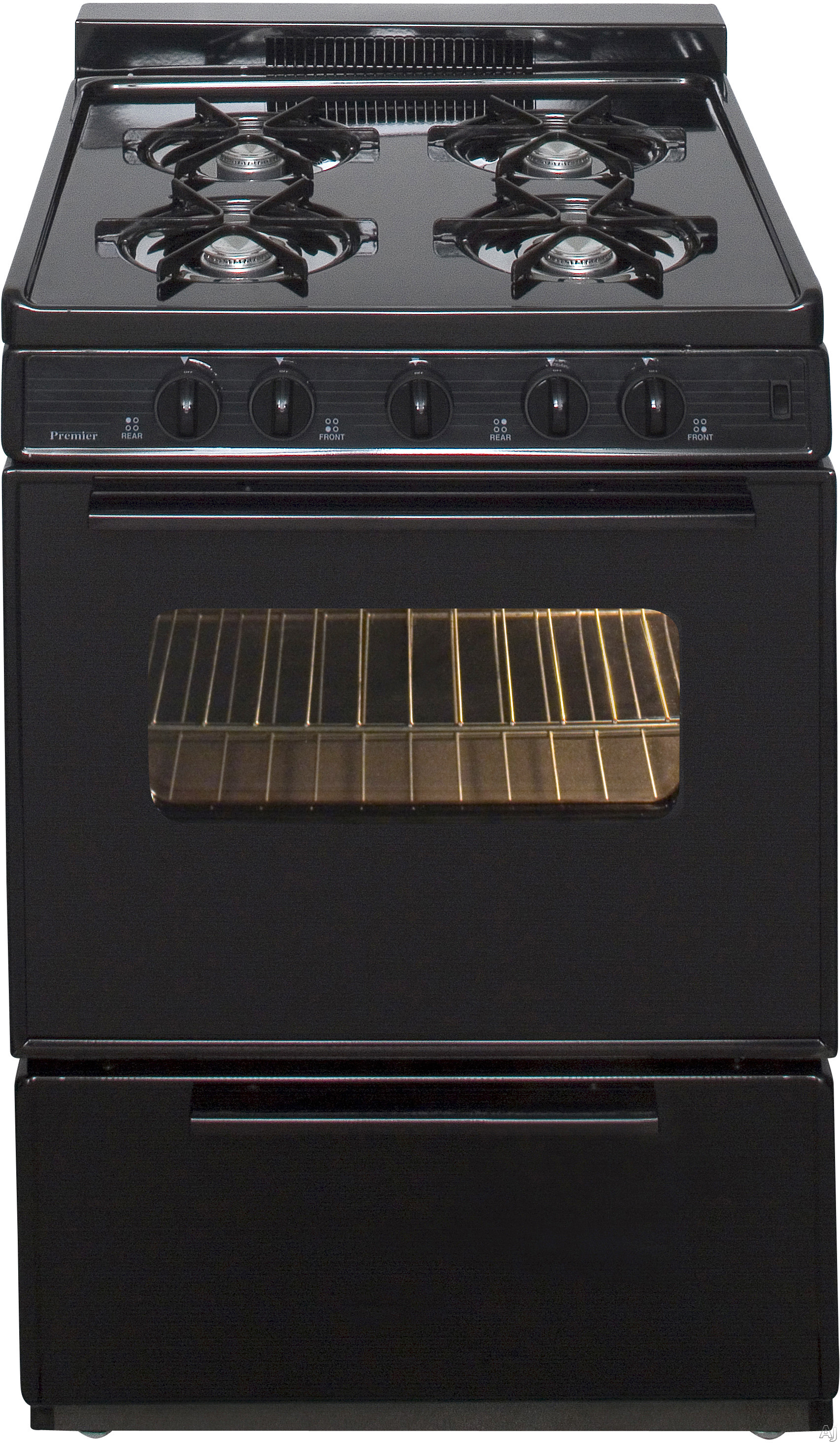 Premier SCK3XRBP 24 Inch Freestanding Gas Range with 4 Open Burners, Chrome Heat Reflector Trays, Electronic Ignition, 17,000 BTU Oven Burner, Lift-up Top, ADA Compliant and 1 1/2 Inch Vent Rail Cap