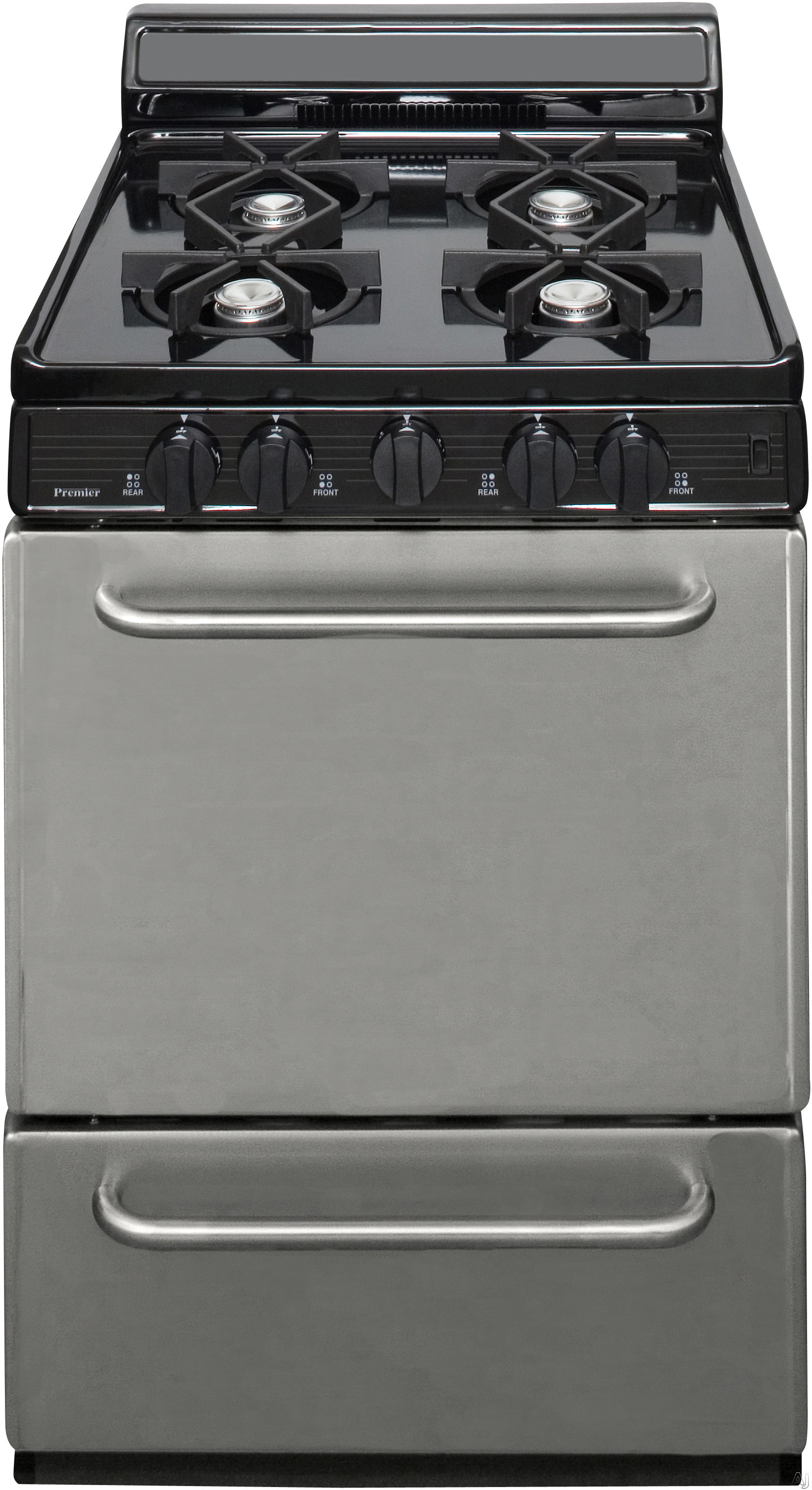 Premier SCK600BP 24 Inch Freestanding Gas Range with 4 Open Burners, 17,000 BTU Manual Clean Oven, Heavy Duty Racks, Chrome Burner Trays, Roll-Out Drop Door Broiler, Anti-Tip Bracket, Interior Oven Li