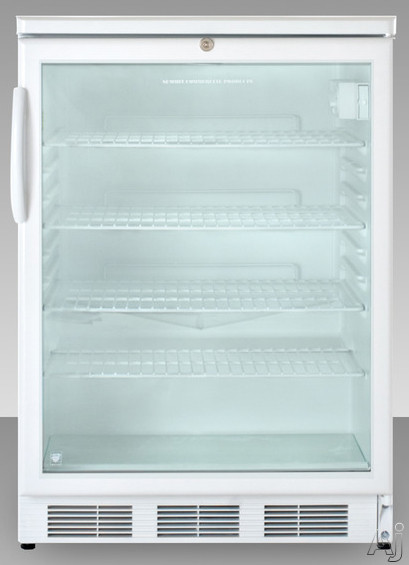 Picture of AccuCold SCR600LADA 24 Inch Freestanding Beverage Center with Adjustable Wire Shelves Automatic Defrost Interior Light Door Lock ADA Compliant and Commercially Approved White Handle