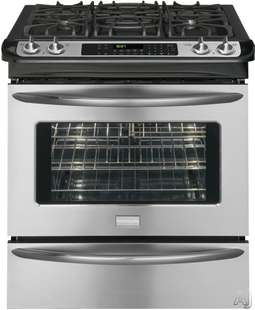 "Frigidaire Gallery FGGS3065KF 30"" Slide-in Gas Range with 4 Sealed Burners, 4.2 cu. ft. True European Convection Oven, Self-Clean, Warming Drawer, ADA"