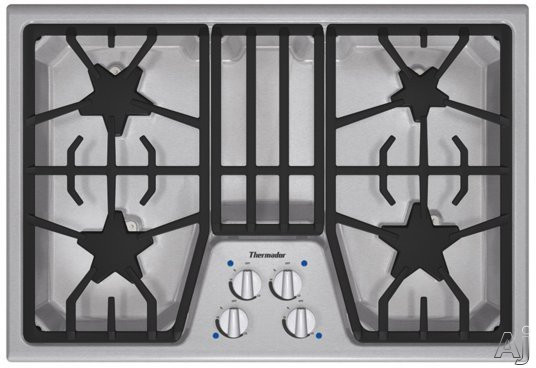 "Thermador Masterpiece Series SGS304FS 30"" Gas Cooktop with 4 Star Burners, 16,000 BTU Power Burner, Electronic Re-Ignition and Continuous Grates"