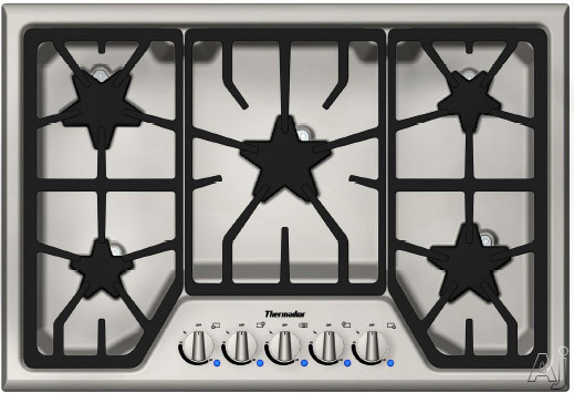 Thermador Masterpiece Series SGS305FS 30 Inch Gas Cooktop with 5 Star Burners, 16,000 BTU Power Burner, Electronic Re-Ignition and Continuous Grates