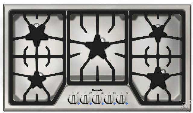 "Thermador Masterpiece Series SGS365FS 36"" Gas Cooktop with 5 Star Burners, 16,000 BTU Power Burner, Electronic Re-Ignition and Continuous Grates"