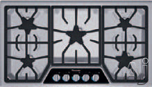 Thermador Masterpiece Series SGSL365KS 36 Inch Gas Cooktop with 5 Sealed Star Burners, 18,000 BTU Center Burner, Continuous Grates, Automatic Re-Ignition and Illuminated Control Panel