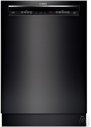 Bosch 300 DLX Series SHE53TL6UC Full Console Dishwasher with 15 Place Setting Capacity 4 Wash Cycles Speed Perfect Option AquaStop Leak Protection and Recessed Handle Black