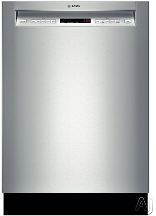 Bosch 500 Series SHE65T55UC Full Console Dishwasher with Load Sensor, Express, AquaStop, Delay Start, Flexible 3rd Rack, Recessed Handle, 16 Place Setting Capacity, 5 Wash Cycles, 5 Options, 44 dBA and Energy Star Rated: Stainless Steel