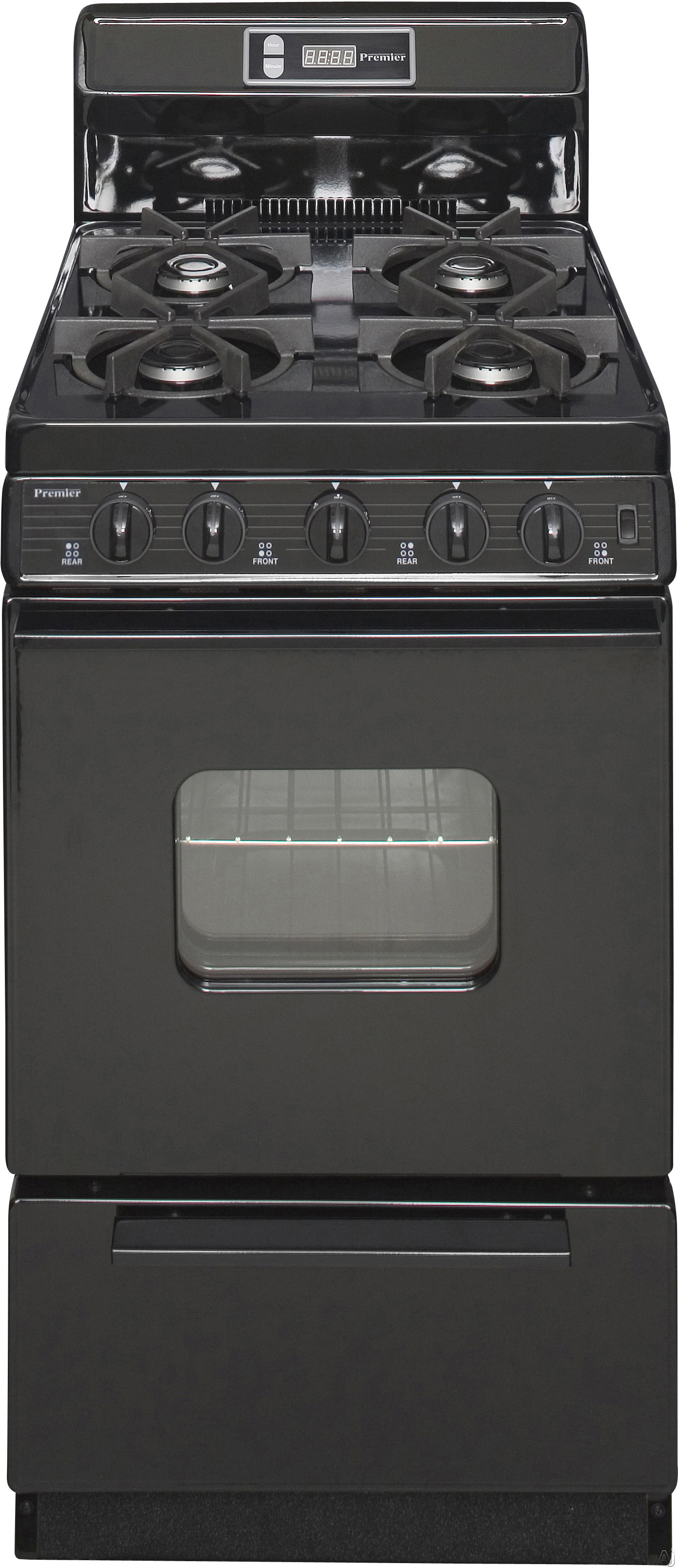 Premier SHK220BP 20 Inch Freestanding Gas Range with 4 Sealed Burners, Electronic Ignition, 17,000 BTU Oven Burner, Electronic Clock/Timer, Interior Oven Light, ADA Compliant and 8 Inch Porcelain Back