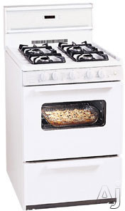 """Electronic Ignition - Premier SJK240O 24"""" Freestanding Gas Range With 4 Sealed Burners 3 Cu Ft Manual Clean Oven Electronic Ignition And 10"""" Tempered Glass Backguard White-on-Wh"""
