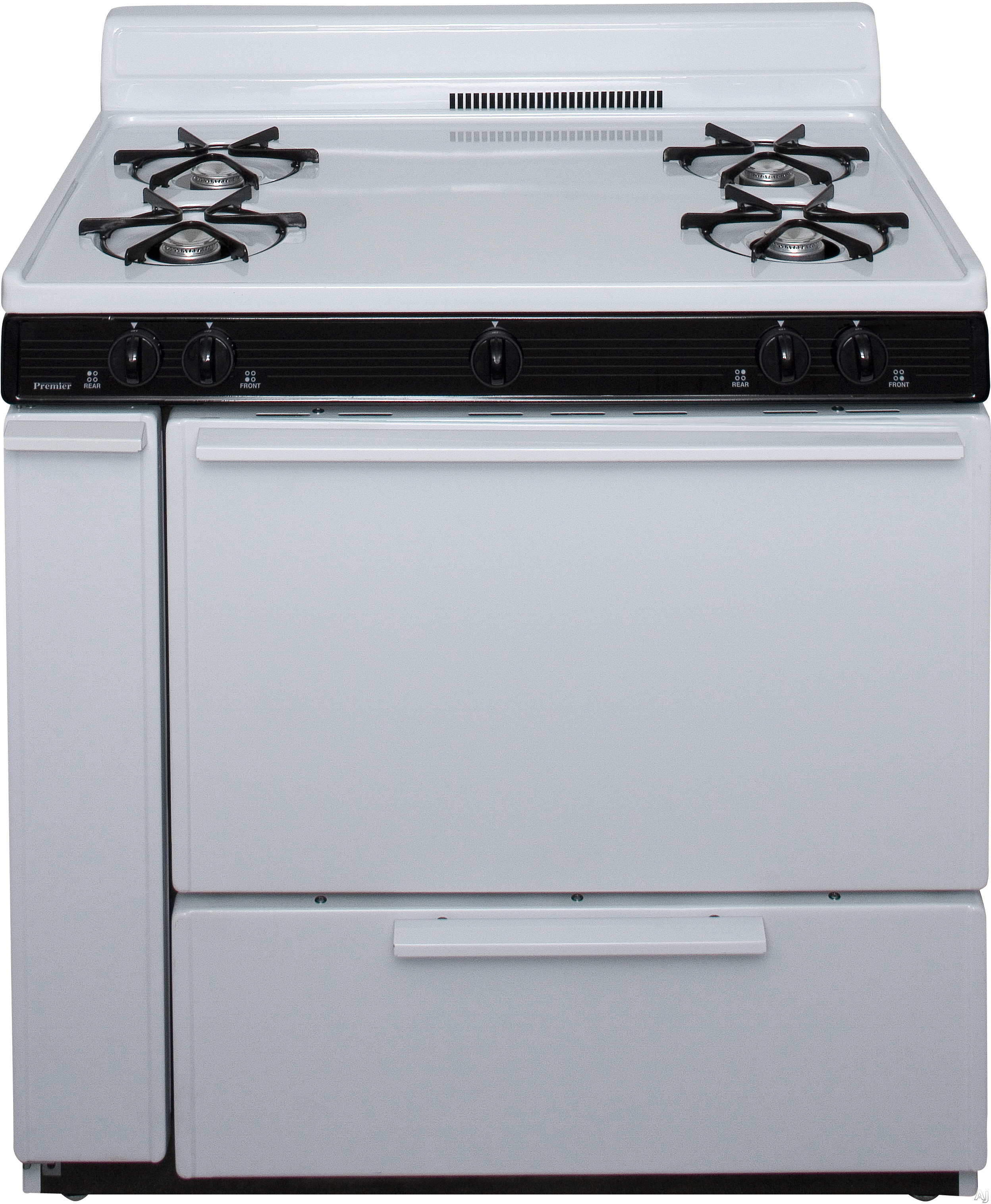 Premier SLK100W 36 Inch Freestanding Gas Range with 4 Open Burners, 3.9 cu. ft. Manual Clean Oven, Electronic Ignition, Solid Oven Door and 4 Inch Porcelain Backguard: White with Black Trim