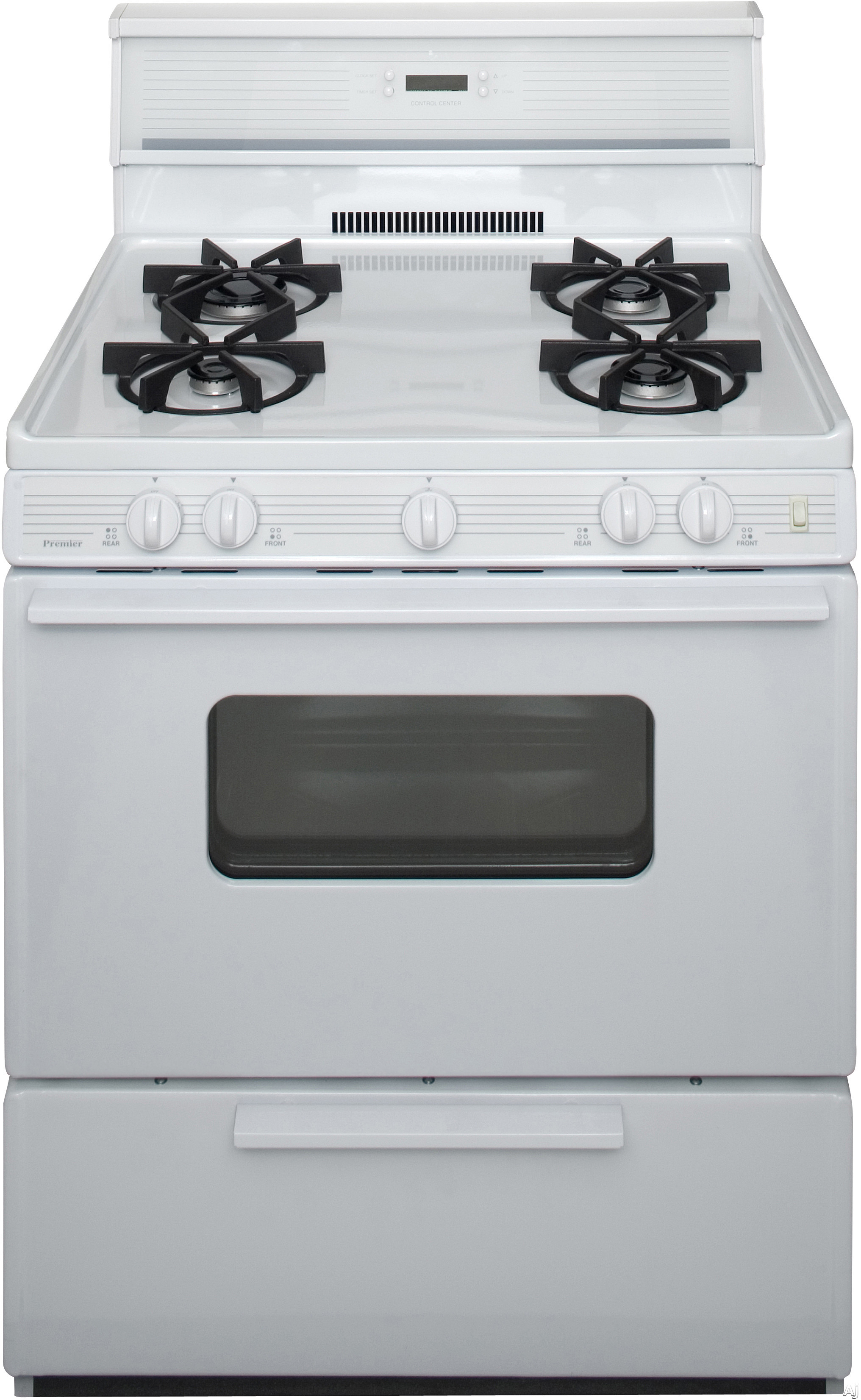 Premier SMK240OP 30 Inch Freestanding Gas Range with 4 Sealed Burners, Electronic Ignition, 17,000 BTU Oven Burner, Electronic Clock/Timer, Interior Oven Light, ADA Compliant and 10 Inch Glass Tempere