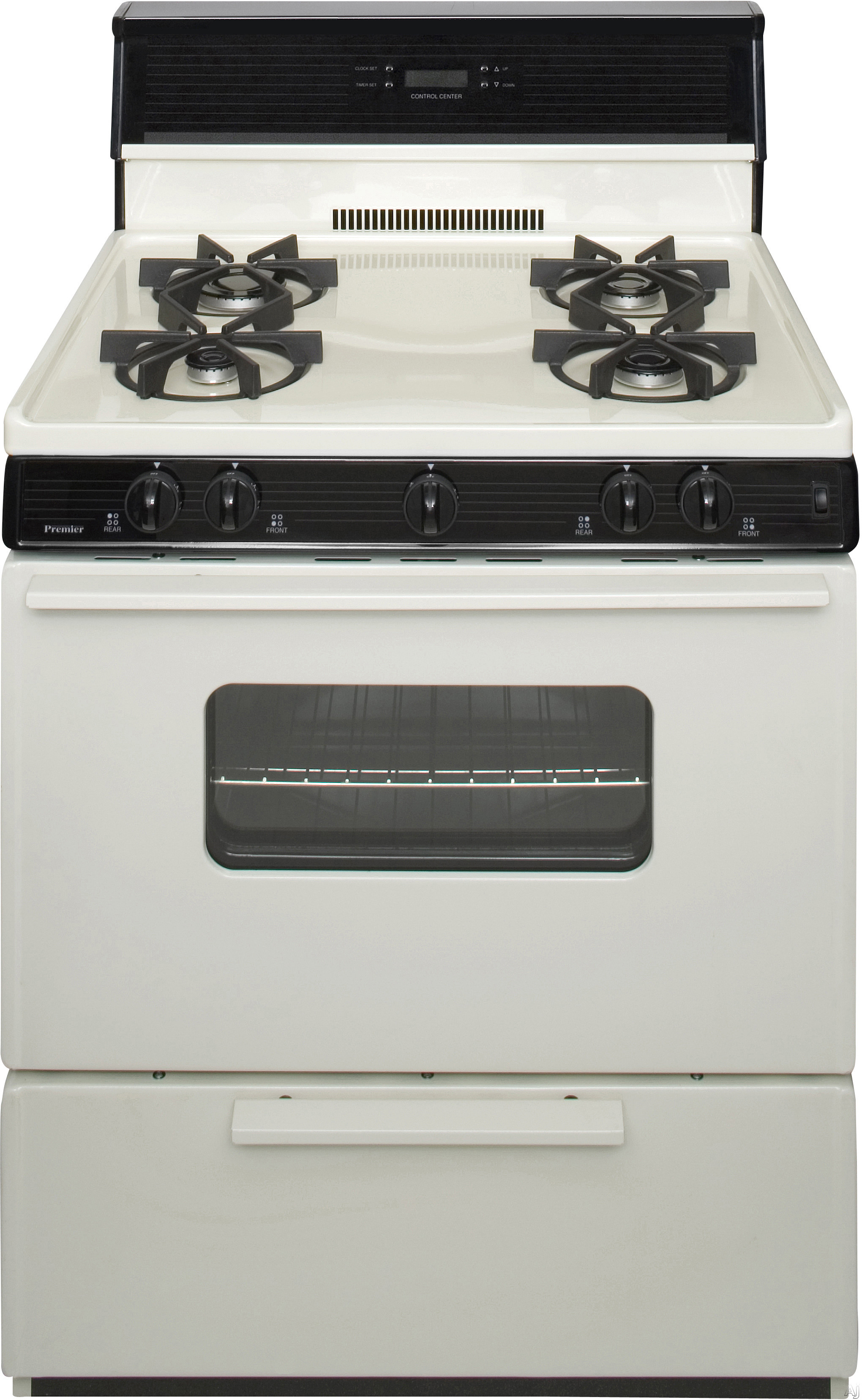 Premier SMK240TP 30 Inch Freestanding Gas Range with 4 Sealed Burners, Electronic Ignition, 17,000 BTU Oven Burner, Electronic Clock/Timer, Interior Oven Light, ADA Compliant and 10 Inch Glass Tempere