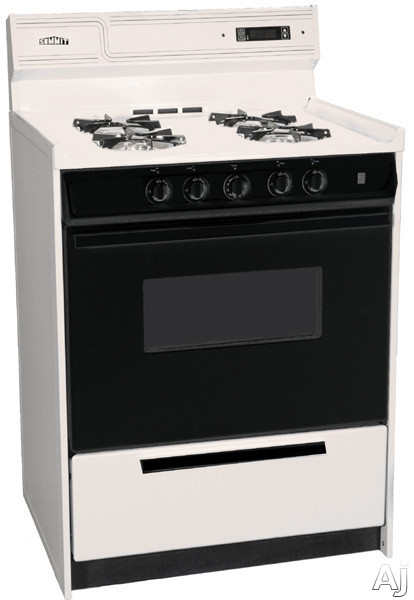 """Electronic Ignition - Summit SNM6307CDK 24"""" Freestanding Gas Range With Manual Clean Black Glass See-Thru Door Electronic Ignition And Clock With Timer Bisque And Natural Gas"""