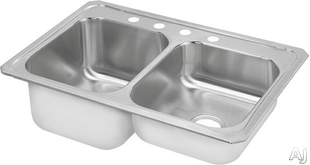Elkay Celebrity Collection STCR3322L2 33 Inch Top Mount Double Bowl Stainless Steel Sink with 20-Gauge, 10-1/4 Inch Large Bowl Depth, 3-1/2 Inch Drain, Coved Corners and Large Bowl On Left: 2 Holes