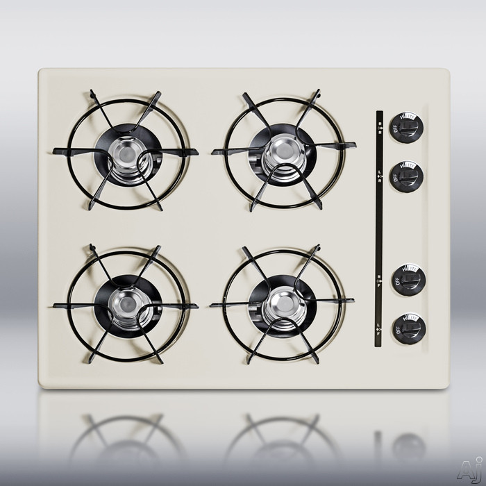 Summit STL033 24 Inch Gas Cooktop with 4 Open Burners and Electronic Ignition: Bisque