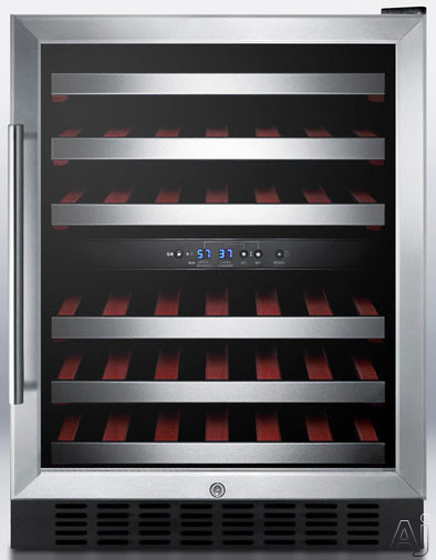 "Summit SWC530LBISTCSS 24"" Under-Counter Dual Zone Wine Cellar with 46-Bottle Capacity, 6 Slide-Out Wooden Shelves, 2 Thermostats, 2 Digital Displays and Stainless Steel Door Frame: Stainless Steel Cabinet"