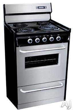 "Summit Professional Series TEM230BKWY 30"" Freestanding Electric Range with 3.69 cu. ft. Manual Clean Oven, 4 Coil Elements, Black Porcelain Cooktop, Oven Window, Digital Clock/Timer and Storage Drawer"