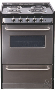 Summit Professional Series TEM610BRWY 24 Inch Slide-in Electric Range with 4 Coil Elements, 2.9 cu. ft. Capacity, Oven Window, Towel Bar Handles and Storage Drawer