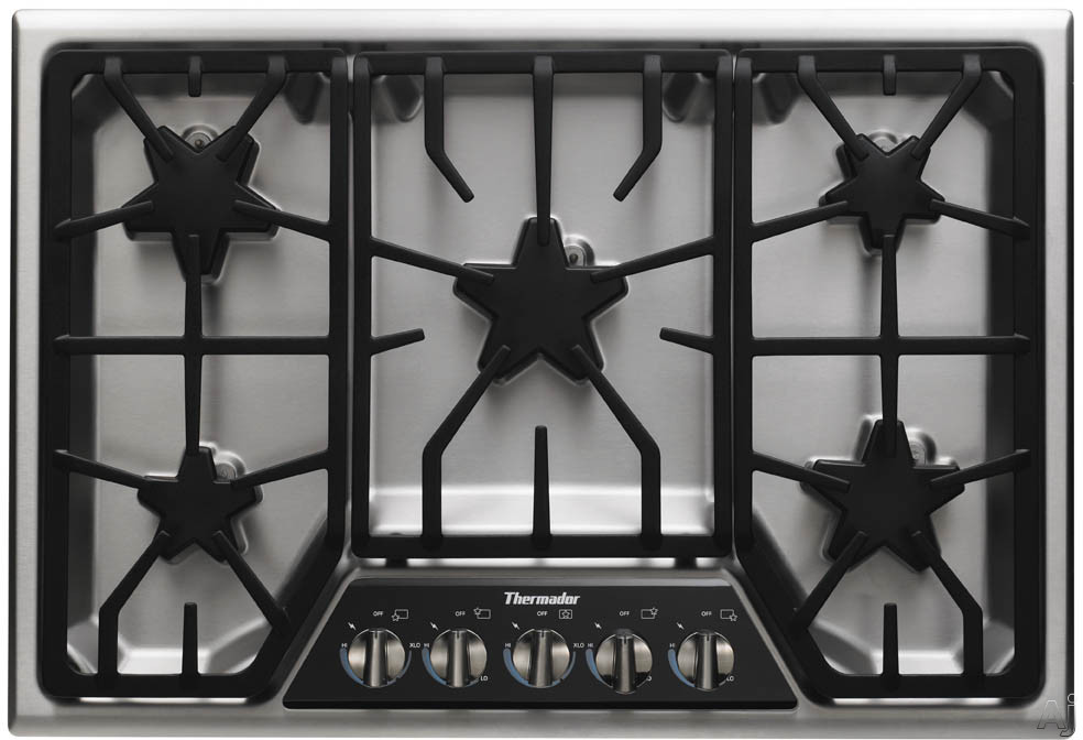 "Thermador Masterpiece Deluxe Series SGSX305FS 30"" Gas Cooktop with 5 Star Burners, 2 ExtraLow Burners, 16,000 BTU Power Burner, Electronic Re-Ignition, Continuous Grates and Progressive Illuminated Control Panel"
