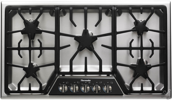 """Thermador Masterpiece Deluxe Series SGSX365FS 36"""" Gas Cooktop with 5 Star Burners, 2 ExtraLow Simmer Burners, 18,000 BTU Power Burner, Electronic Re-Ignition, Continuous Grates and Progressive Illuminated Control Panel"""