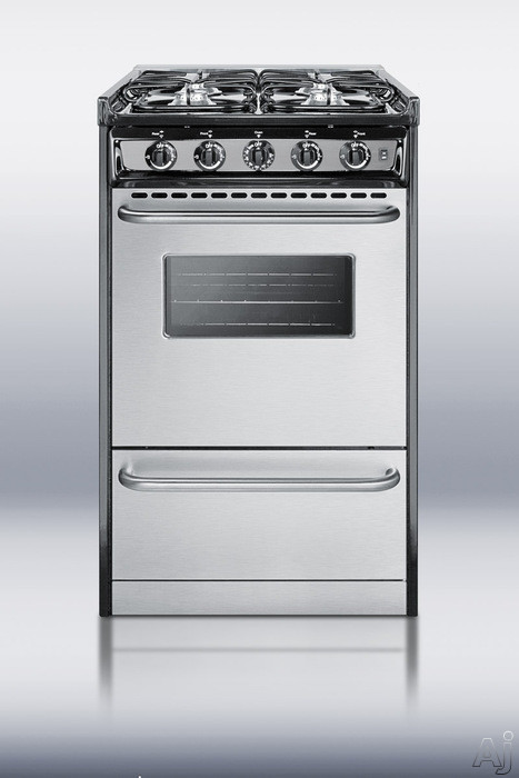 Summit Professional Series TLM11027BFRWY 20 Inch Slide-in Gas Range with 4 Sealed Burners, 2.5 cu. ft. Capacity, Black Porcelain Surface and Broiler Drawer: Liquid Propane