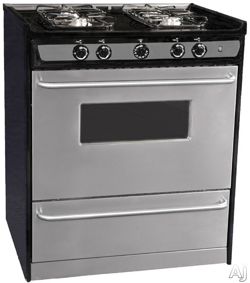 "Summit Professional Series TNM21027BFRWY 30"" Slide-in Gas Range with 4 Sealed Burners, 3.7 cu. ft., U.S. & Canada TNM21027BFRWY"
